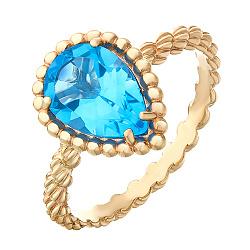Золотое кольцо Юджиния с голубым топазом в стиле Бушерон
