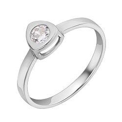 Золотое кольцо Триллион в белом цвете с белым фианитом