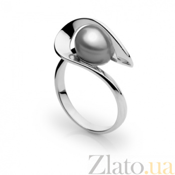Кольцо из белого золота с серым жемчугом Динара SG--13131003/бел/сер