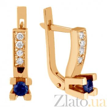Золотые серьги Опера с сапфирами и бриллиантами VLN--123-723