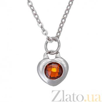 Серебряное колье Огонь в сердце с красным фианитом шахматной огранки TNG--860150С