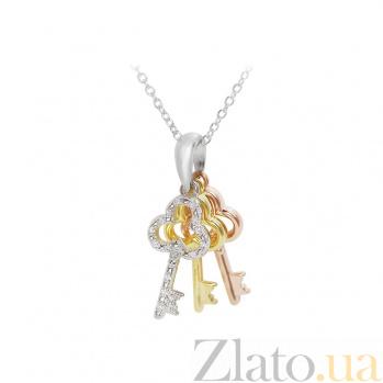 Серебряное колье Три ключа с фианитами 000081682