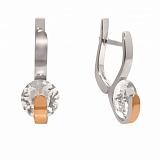 Серебряные серьги с цирконием и золотой вставкой Алмаз