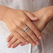 Серебряное кольцо Розарий с ажурной шинкой и дорожками фианитов