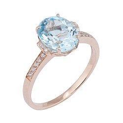 Кольцо в красном золоте Оксана с голубым топазом и фианитами 000032116