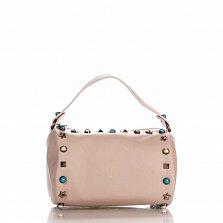 Кожаный клатч Genuine Leather 1519 розового цвета с короткой ручкой и декоративными элементами