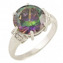 Серебряное кольцо Андромеда с топазом мистик и фианитами
