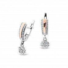 Серебряные серьги-подвески Гортензия с золотыми накладками и фианитами