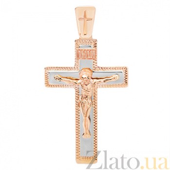 Крестик из комбинированного золота Силы Небесные HUF--101-М ин