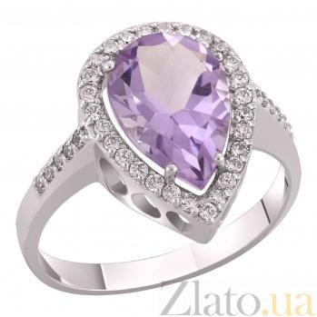 Золотое кольцо с аметистом и цирконами Мирослава 000023501