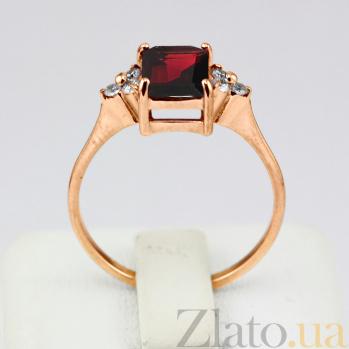 Золотое кольцо с гранатом и фианитами Анжиолетта VLN--112-1327-3