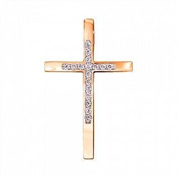 Декоративний хрестик з червоного золота із діамантами та родіюванням 000126980