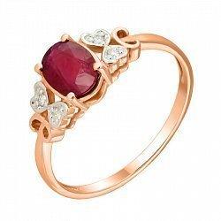 Кольцо в комбинированном цвете золота с рубином, бриллиантами и родированием 000131390