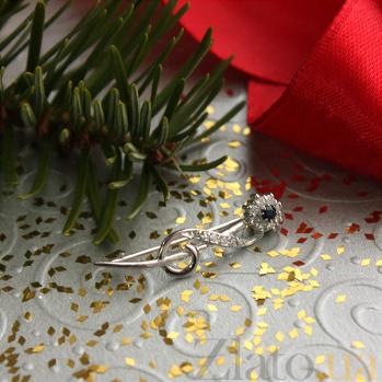Золотая брошь с сапфиром и бриллиантами Флора ZMX--BDS-6871w_K