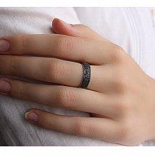 Золотое кольцо Звездное небо в белом цвете с черными фианитами