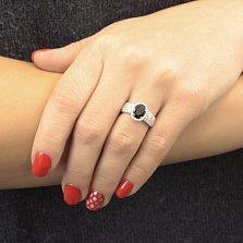 Серебряное кольцо Орнелла с синтезированным сапфиром и фианитами