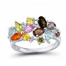 Кольцо из белого золота Радуга с бриллиантом, сапфиром, гранатом и голубым топазом