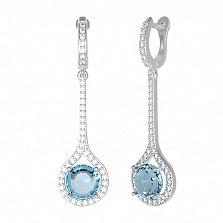 Серебряные серьги Фиона с голубым кварцем и фианитами