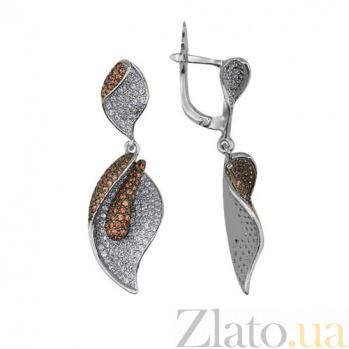 Серьги-подвески из белого золота с цирконием Камелия VLT--ТТ290