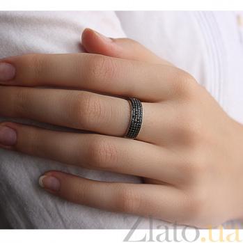 Золотое кольцо с чёрными цирконами Темная ночь 000023283