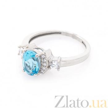 Золотое кольцо Августина в белом цвете с голубым топазом и белыми фианитами 000082316