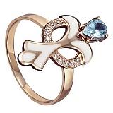 Золотое кольцо Нинетт с топазом, фианитами и эмалью