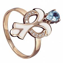 Золотое кольцо Нинетт с голубым топазом, фианитами и эмалью