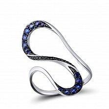Кольцо из белого золота Элизабет с бриллиантами и сапфирами