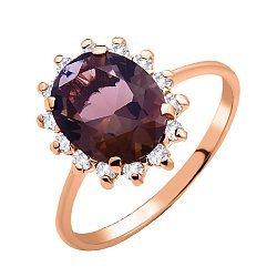 Золотое кольцо Роузи в красном цвете с коньячным раухтопазом и фианитами