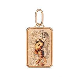 Ладанка в красном золоте Божья матерь с младенцем с эмалью 000062687