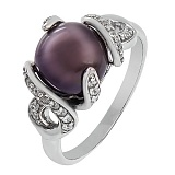 Серебряное кольцо Канвалия с черным жемчугом и фианитами