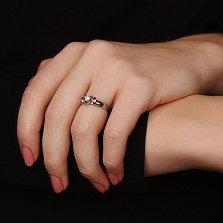 Золотое кольцо Афродита в белом цвете с бриллиантом