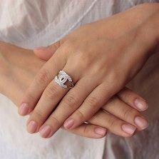 Серебряное кольцо Шанель в усыпке фианитов