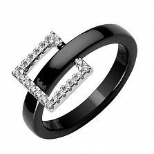 Серебряное кольцо Квадрат с черной керамикой и фианитами