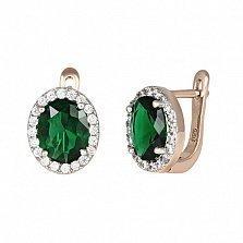 Серебряные серьги с зелеными фианитами Полидора