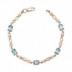 Золотой браслет в красном цвете с голубыми топазами и фианитами 000125366