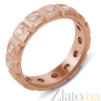 Обручальное кольцо из красного золота с бриллиантами Сила любви 10003