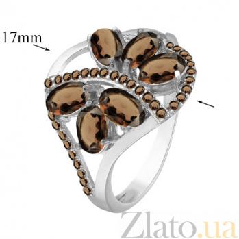 Серебряное кольцо с дымчатым кварцем Вуаль 000029162