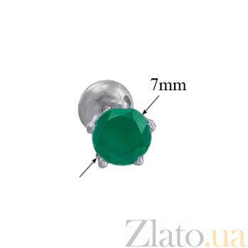 Серебряные пуссеты с зеленым агатом Очарование 000015322