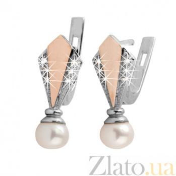 Серебряные серьги с золотыми вставками и жемчугом Рим BGS--334с