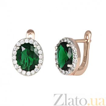 Серебряные серьги с зелеными фианитами Полидора SLX--СК3ФИ/410