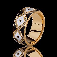 Мужское обручальное кольцо Источник Счастья с эмалью и бриллиантами