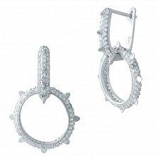 Серебряные серьги-подвески Колючка с фианитами