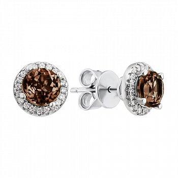 Сребряные серьги-пуссеты с раухтопазом и фианитами 000146769