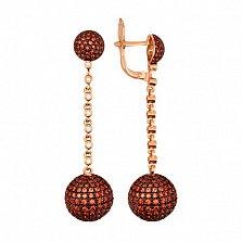 Серьги-подвески из красного золота с оранжевым цирконием Бритни