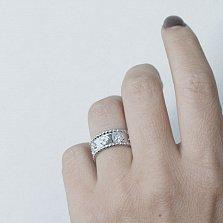 Серебряное кольцо Дорога жизни с фианитами и цветочками в стиле Ван Клиф