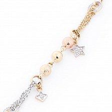 Золотой браслет Звездный час с кристаллами циркония