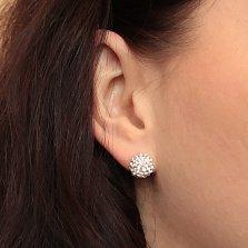 Серебряные пуссеты-шары Блеск с кристаллами Swarovski светлого кремового оттенка