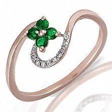 Кольцо из красного золота Полевой цветок с бриллиантами и изумрудами