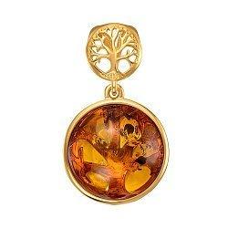 Серебряная подвеска Древо жизни с янтарем и позолотой 000137631